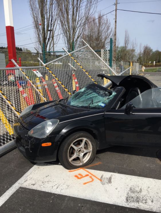 Emergency crews responded after a pedestrian was hit and critically injured after a car crashed through the gate at the Boeing Renton plant. (Photo: Boeing Police Department)