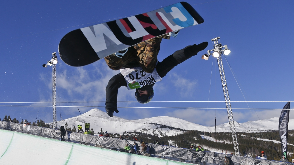 FILE - In this Dec. 14, 2013, file photo, Taylor Gold competes during the men's snowboarding superpipe final at a Dew Tour event in Breckenridge, Colo. Taylor and Arielle Gold are taking their brother and sister act to Sochi. The Golds are members of the U.S. Olympic halfpipe snowboarding team that is expected to come home from Russia with multiple medals. (AP Photo/Julie Jacobson, File)