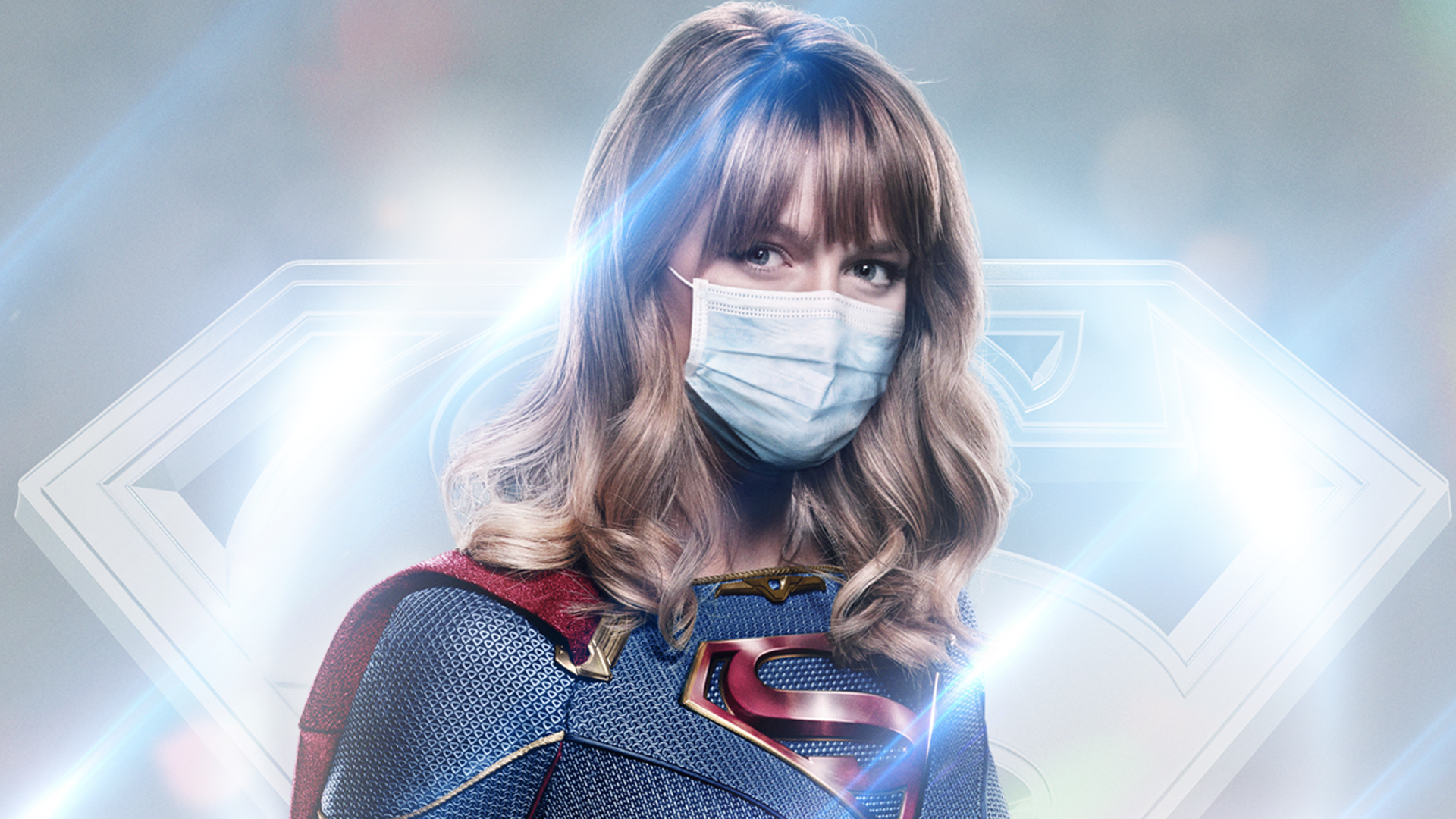 "Supergirl featured in The CW's latest campaign, ""Real Heroes Wear Masks."" August 7, 2020 (The CW)"