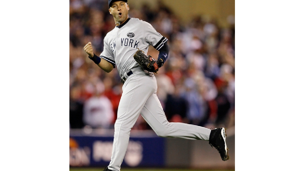 FILE - In this Oct. 6, 2010 file photo, New York Yankees shortstop Derek Jeter reacts after throwing out Minnesota Twins' Denard Span to end the eighth inning of Game 1 of baseball's American League Division Series in Minneapolis. (AP Photo/Charlie Neibergall, File)