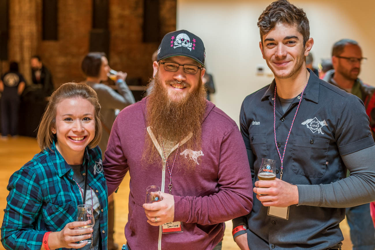 Jenna DiCicco, Chris Davison, and Brian Rosa all from Wolf's Ridge Brewery / Image: Mike Menke<p></p>
