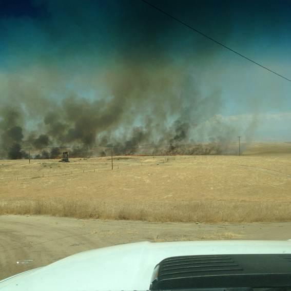 Fires burn along Highway 65 north of Bakersfield, Calif., Thursday, July 6, 2017. (Provided photo)