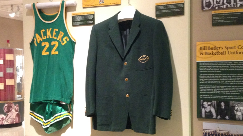 Bill Butler's Green Bay Packers basketball uniform and 1959 Packers team blazer at the Neville Public Museum in Green Bay, Tuesday, April 29, 2014. (WLUK/Chris Bourassa)