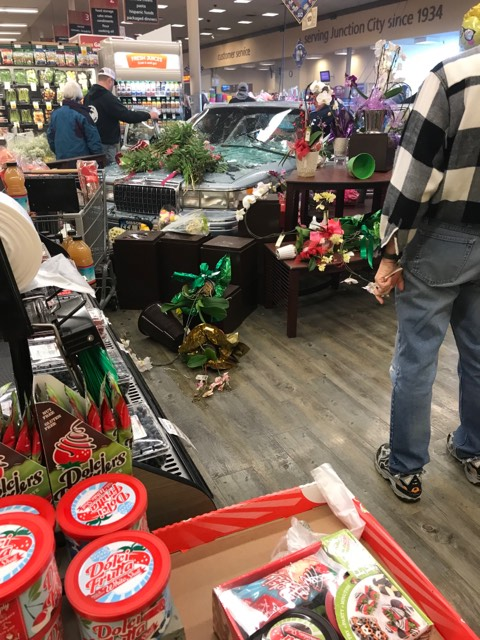 A vehicle in Junction City crashed into the front of a Safeway store on 1755 Ivy Street Sunday. (Photo courtesy of Kayla Priest).