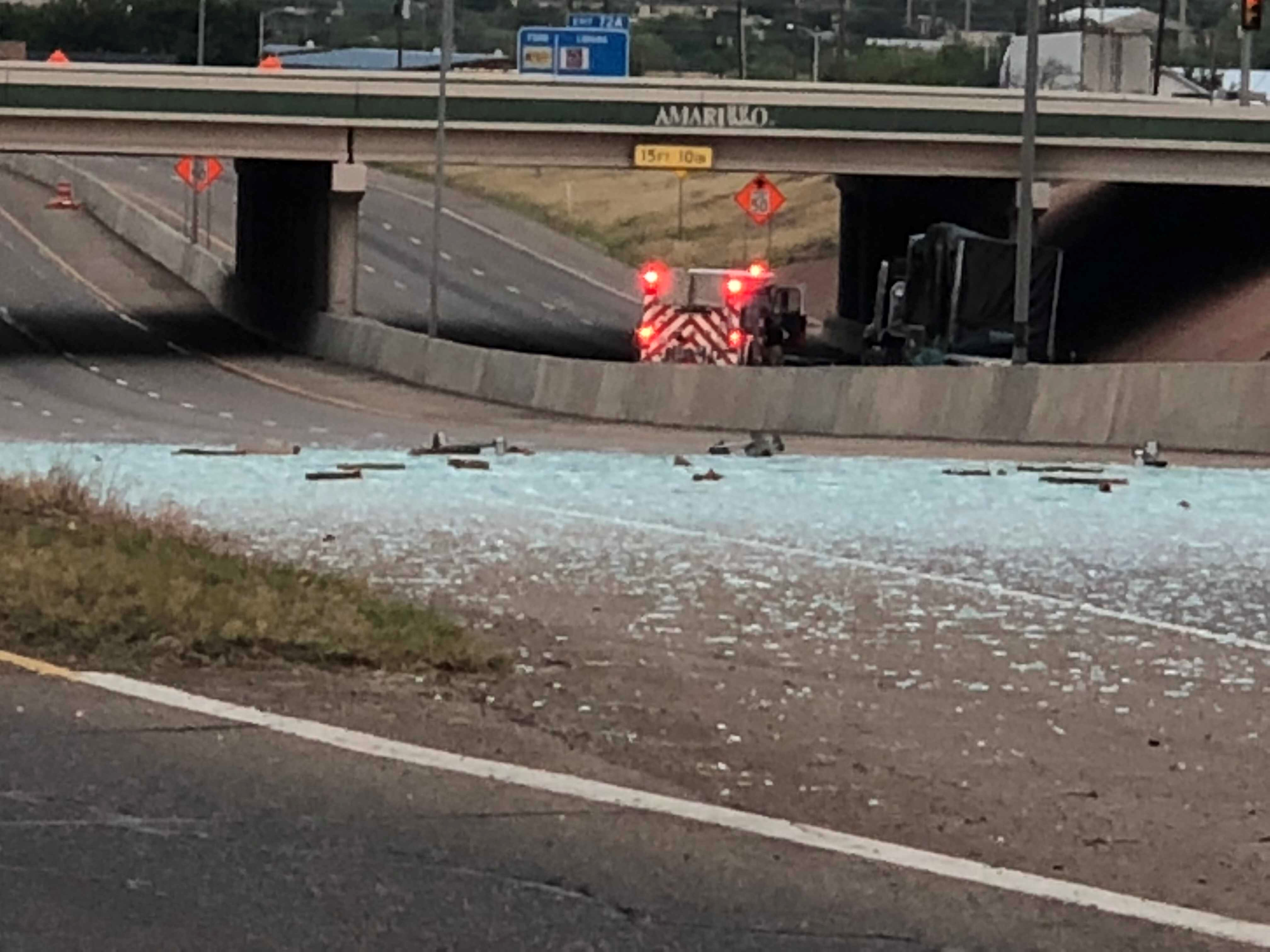 Traffic is stalled on Interstate 40 near Grand Street as crews work an accident that left glass covering several lanes of the highway. (ABC 7 Amarillo - Nataziah Gipson)