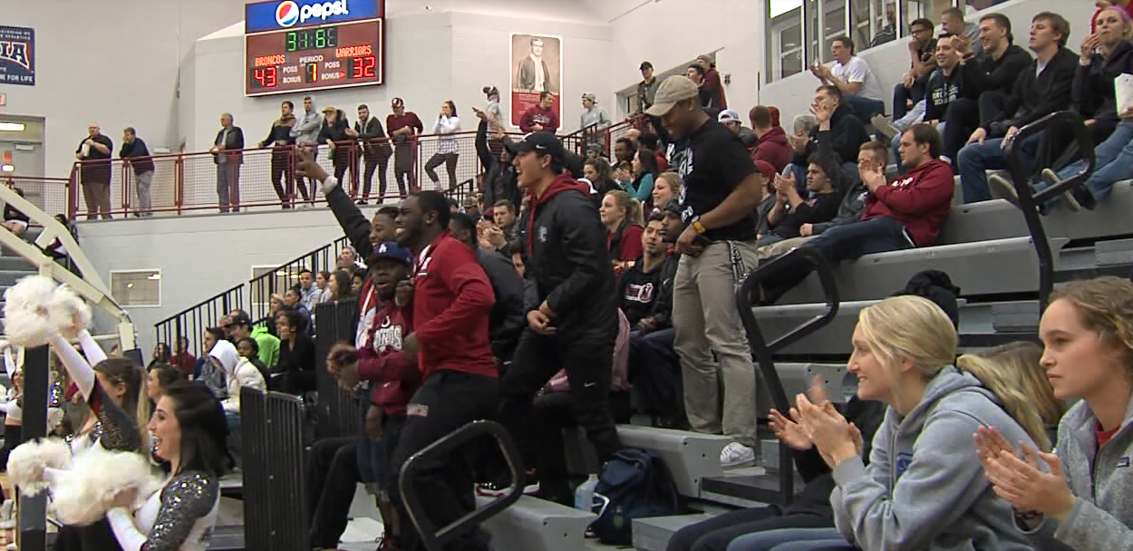 Fans at Lynn Farrell Arena celebrate a Hastings College basket during the men's game on Feb. 1, 2017 (NTV News)
