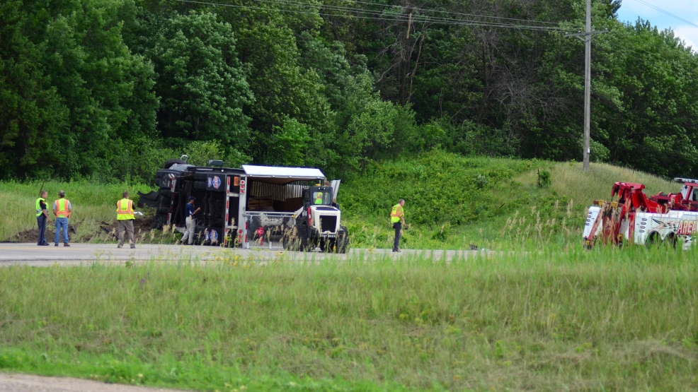 The semi involved in Wednesday's crash turned over on Hwy 22 in Wild Rose. (Photo Courtesy: Pam Rotella via ReportIt)