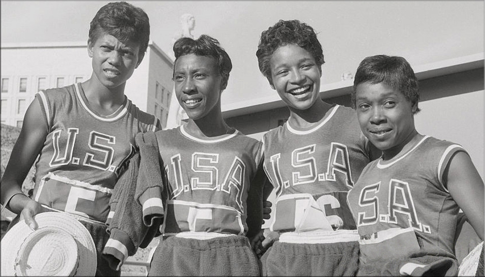 Olympic champions Wilma Rudolph, Lucinda Williams, Barbara Jones, Martha Hudson of Tennessee State. (Courtesy Tennessee State University Archives)