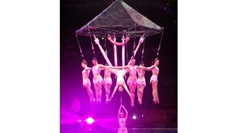 In this photo provided by Frank Caprio, performers hang during an aerial hair-hanging stunt at the Ringling Brothers and Barnum and Bailey Circus, Friday, May 2, 2014, in Providence, R.I. (AP Photo/Frank Caprio)