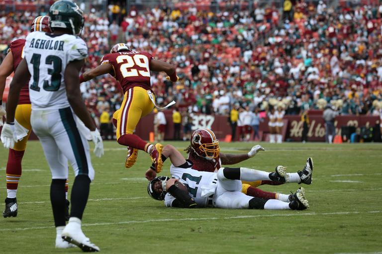 The Washington Redskins started their 2017 season with more of a whimper than a bang, losing 30-17 to the Philadelphia Eagles at FedEx Field. Ryan Kerrigan came through with the first touch down for the Redskins, but the team fell behind as the game wore on. Although some fans left disappointed, there's always a shot at a comeback on October 23, when the Redskins will play the Eagles in Philly. (Amanda Andrade-Rhoades/DC Refined)