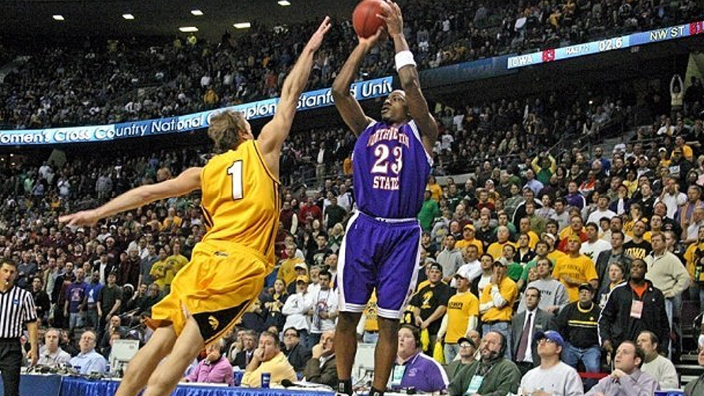 Jermaine Wallace takes the game-winning 3-pointer that lifted Northwestern State over 15th-ranked Iowa 64-63 in the 2006 NCAA Tournament. NSU celebrated the 10th anniversary of the game this year. (Courtesy Doug Daniels/NSU Athletics)