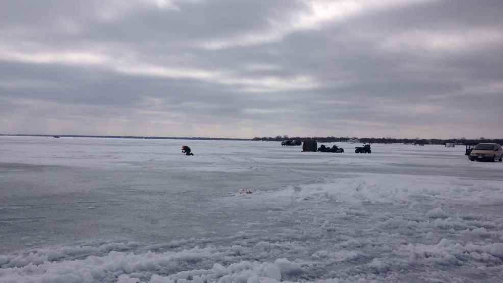 Ice fishermen on Lake Winnebago.