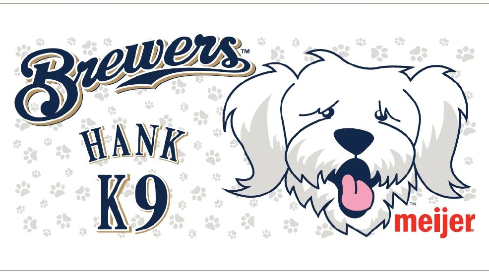 "Design of a beach towel featuring Hank, the Milwaukee Brewers' ""Ballpark Pup"" (brewers.com)"