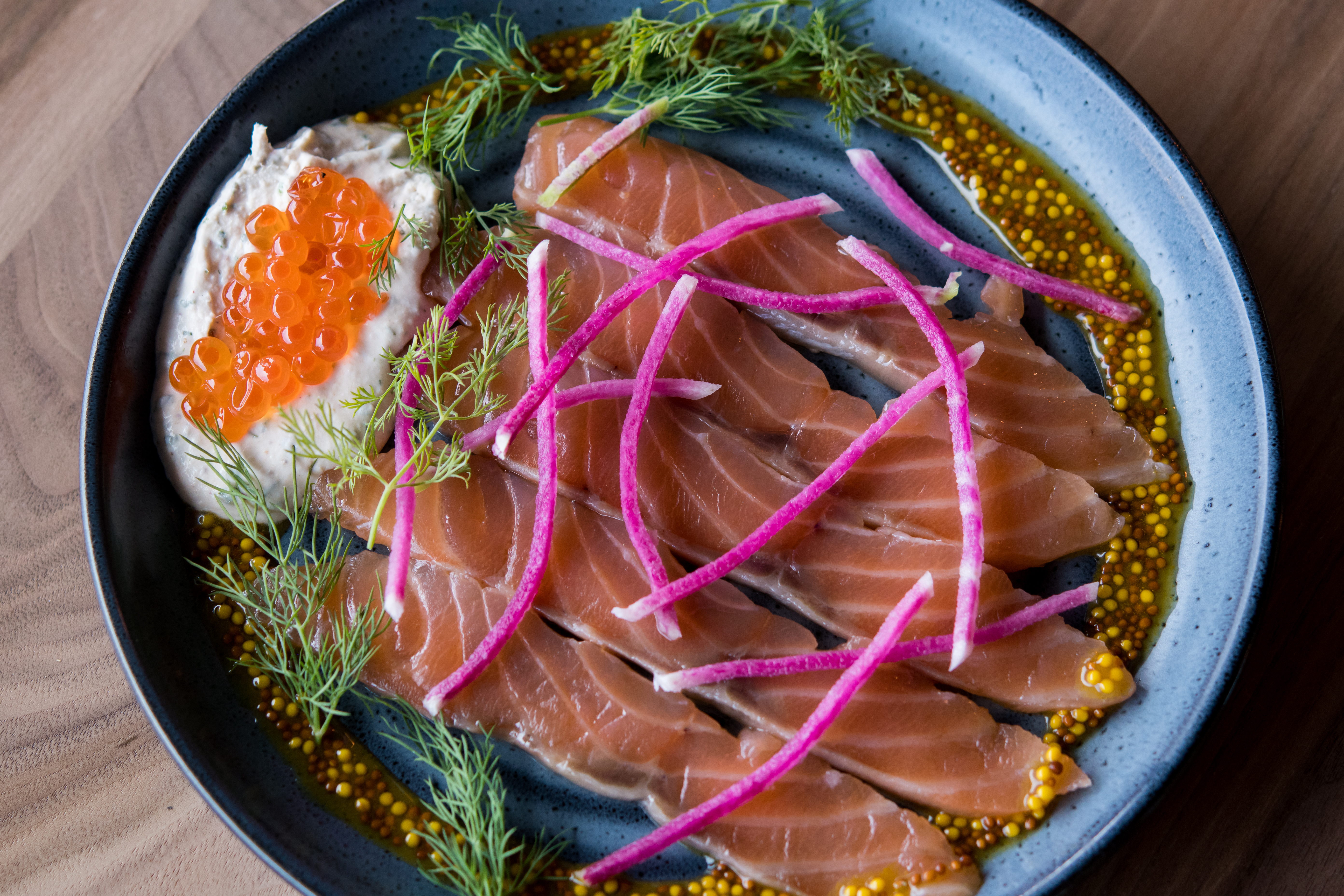 King Salmon Gravlax & Roe with tarragon creme fraiche and grapefruit mustard (Image courtesy of Fire Vine / Aerlume).