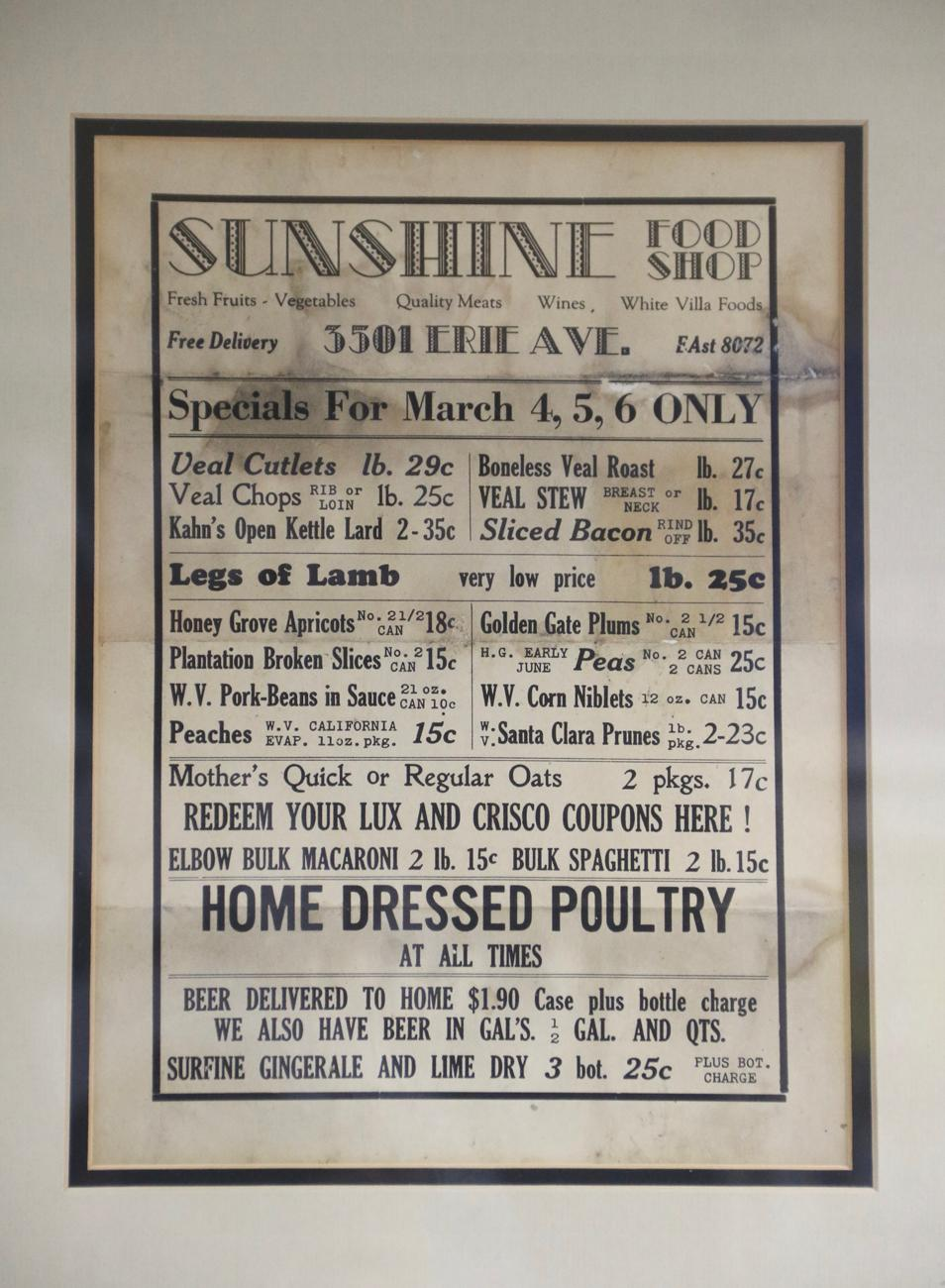 Sunshine traces its roots to a historic Hyde Park business that was eventually acquired by Pam. Hanging on the wall is a vintage menu found by one of her family members. The current incarnation honors the tradition of being a friendly, neighborhood staple not just in location, but practice as well. / Image: Ronny Salerno // Published: 4.25.19