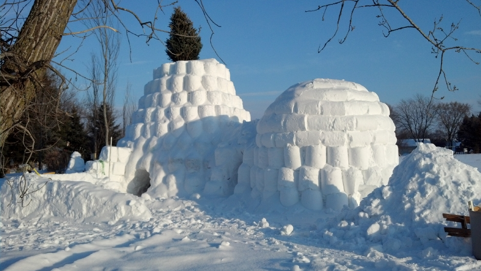 A Greenville man built this elaborate, 20-foot-tall, two-room snow fort in his backyard.