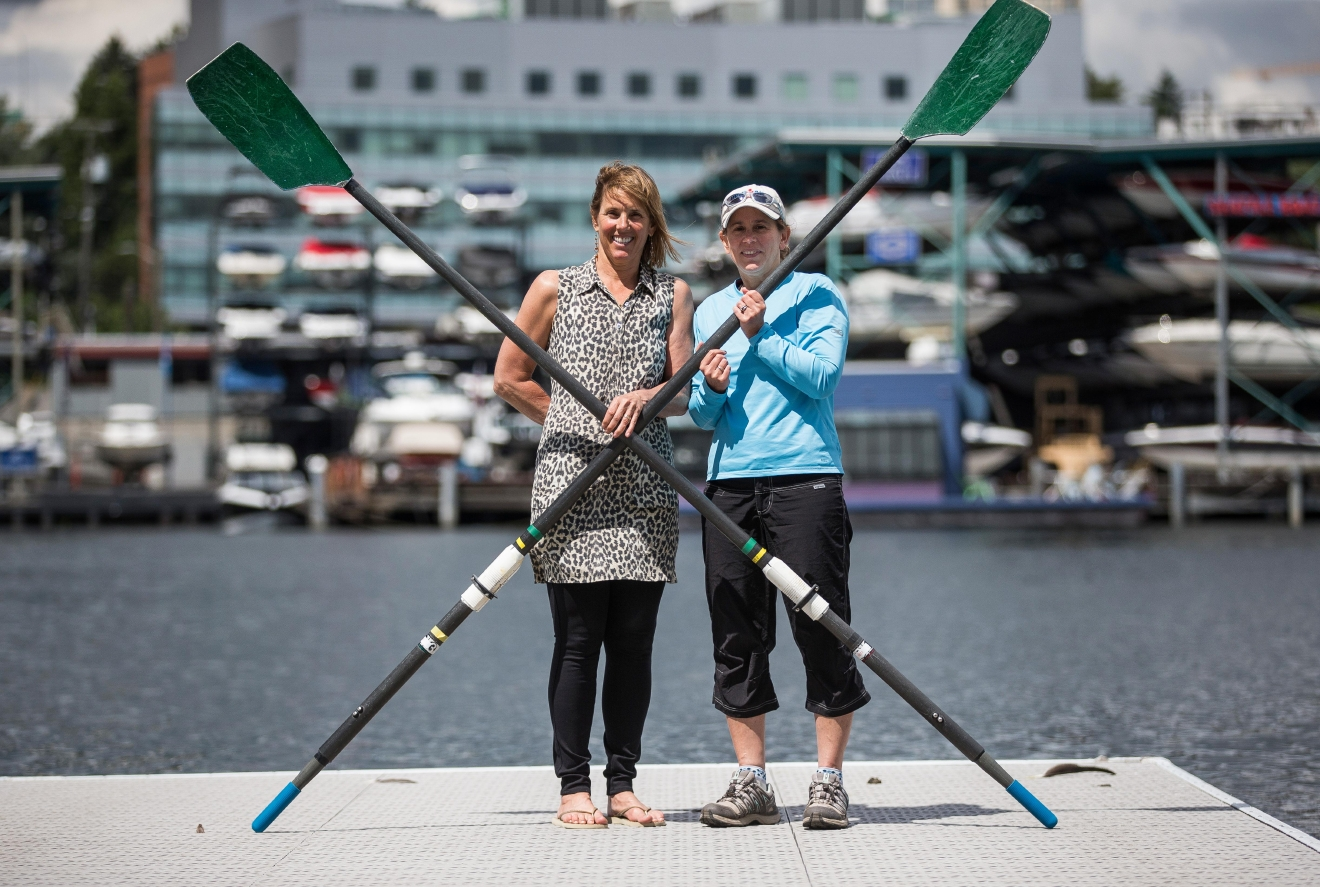 Ginny Gilder (left) and Meri-Jo Borzilleri on the dock at the Pocock Rowing Center in Seattle Wednesday, June 3, 2015. (Courtesy Meri-Jo Borzilleri)