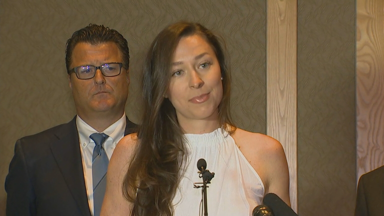 Ariana Kukors Smith discusses a lawsuit she had filed. She spoke at a news conference in Seattle on Monday, May 21, 2018. (Photo: KOMO News)