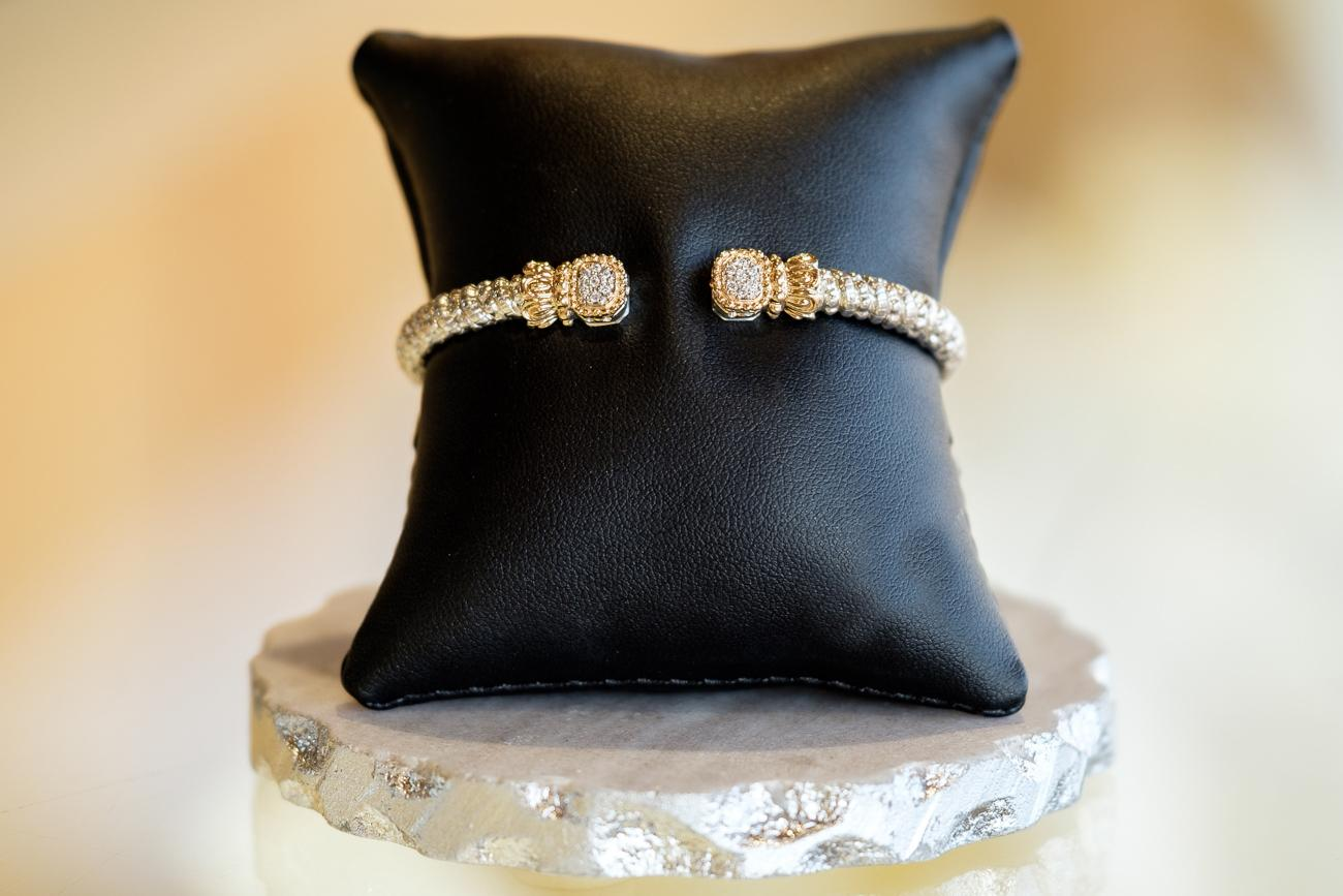 SEVEN: An exceptional Alwand Vahan sterling-silver 4mm coiled cuff bracelet with a 14k yellow gold beaded edge and rectangular end pieces with 7 pave-set diamonds on each sparkling end, totaling 14 round-cut diamonds. / $1,350 / Image: Daniel Smyth