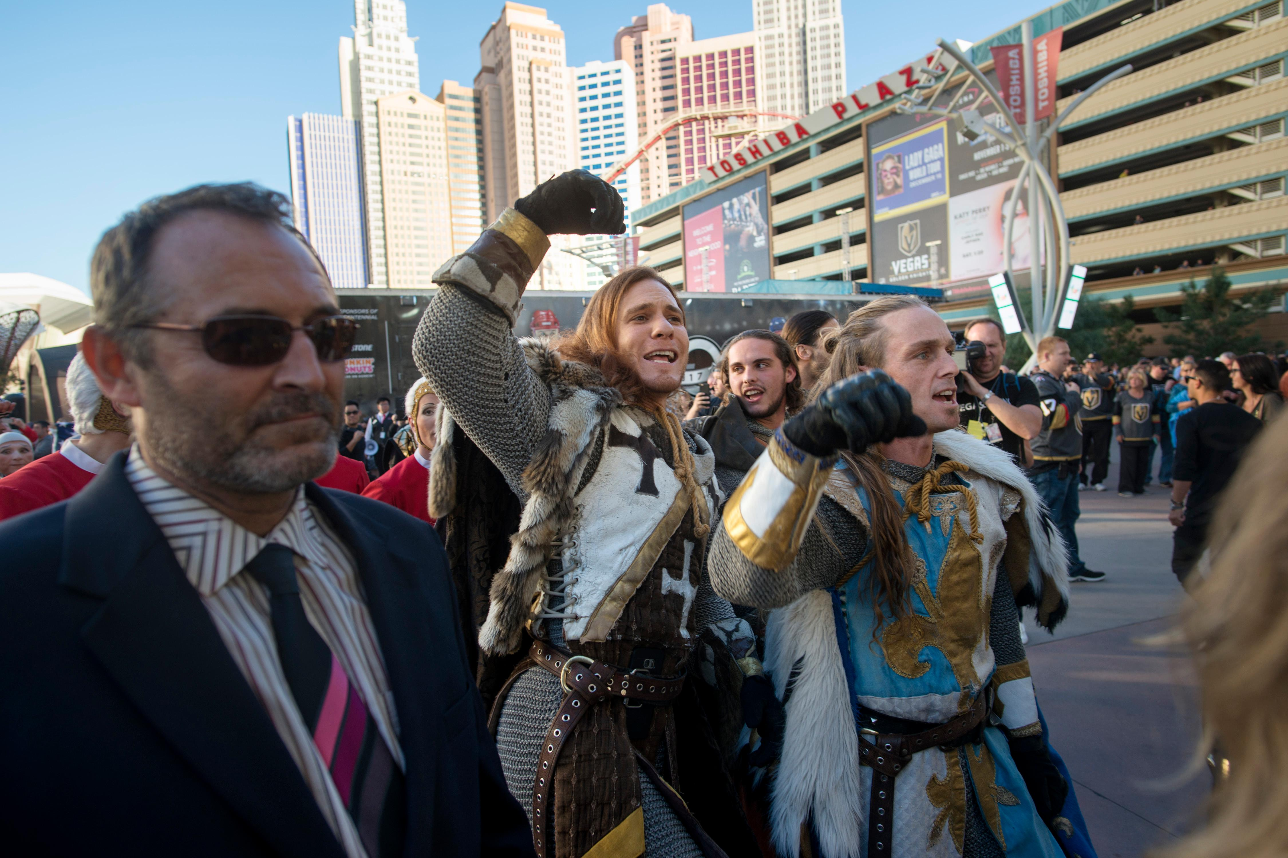 Vegas Golden Knights promotional crew members parade to the T-Mobile Arena before the Vegas Golden Knights home opener Tuesday, Oct. 10, 2017, against the Arizona Coyotes. CREDIT: Sam Morris/Las Vegas News Bureau