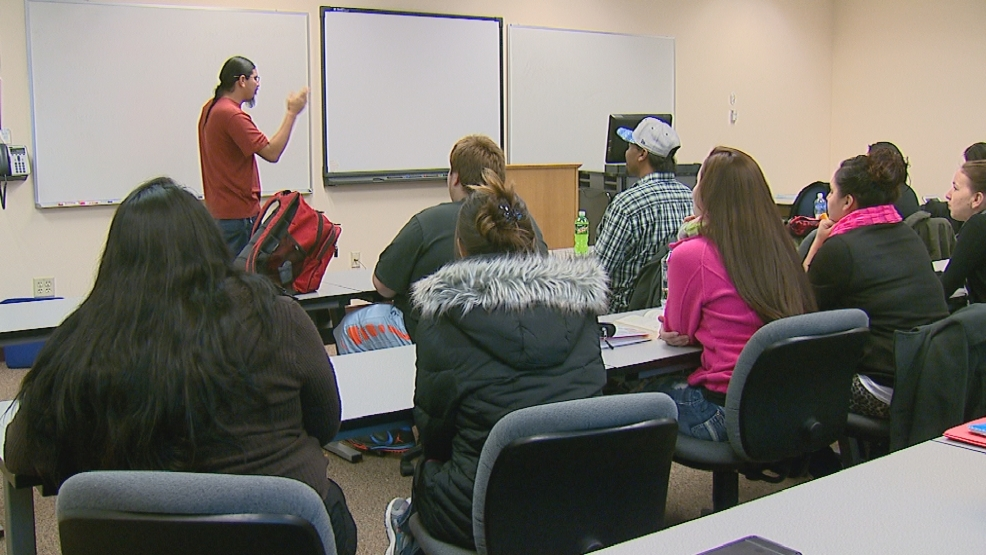 Students learn the Menominee language in a class at the College of Menominee Nation on Wednesday, December 3, 2014.