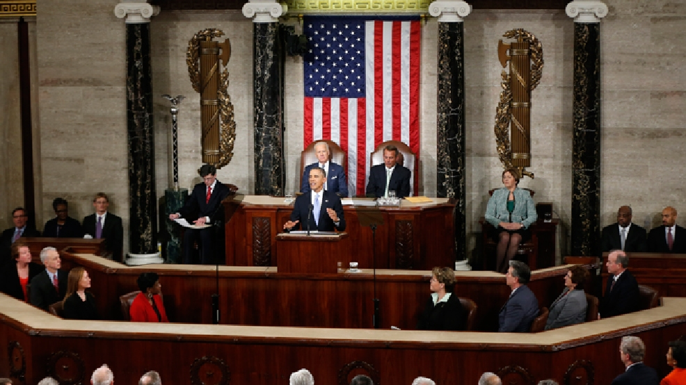 President Barack Obama gives his State of the Union address on Capitol Hill in Washington, Tuesday Jan. 28, 2014. (AP Photo/Charles Dharapak)