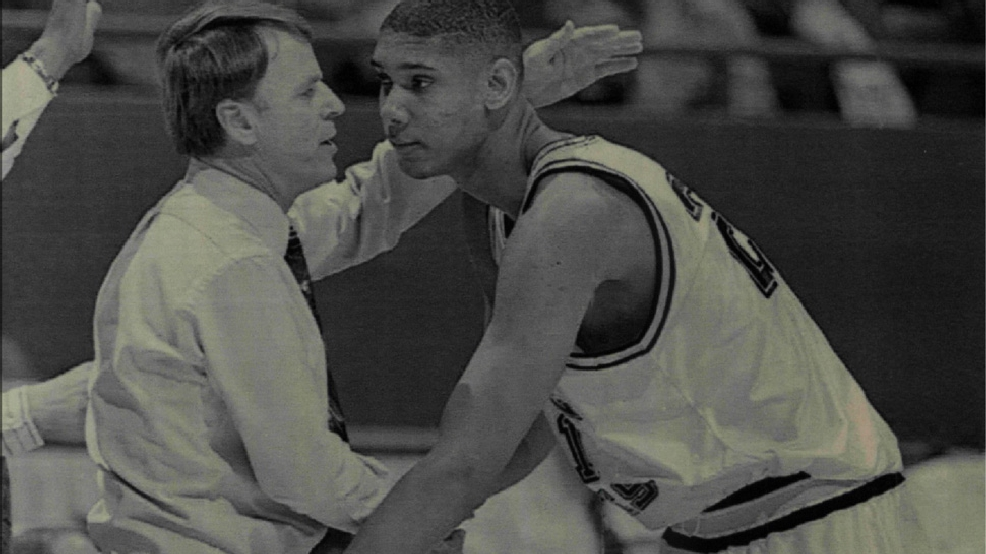 College of Charleston coach John Kreese congratulates Wake Forest freshman Tim Duncan after Wake Forest beat the Cougars 68-58 in the NCAA Tournament on March 17, 1994, in Lexington, Ky. Duncan finished with 16 points, 13 rebounds and eight blocks. (Photo by Sporting News via Getty Images)