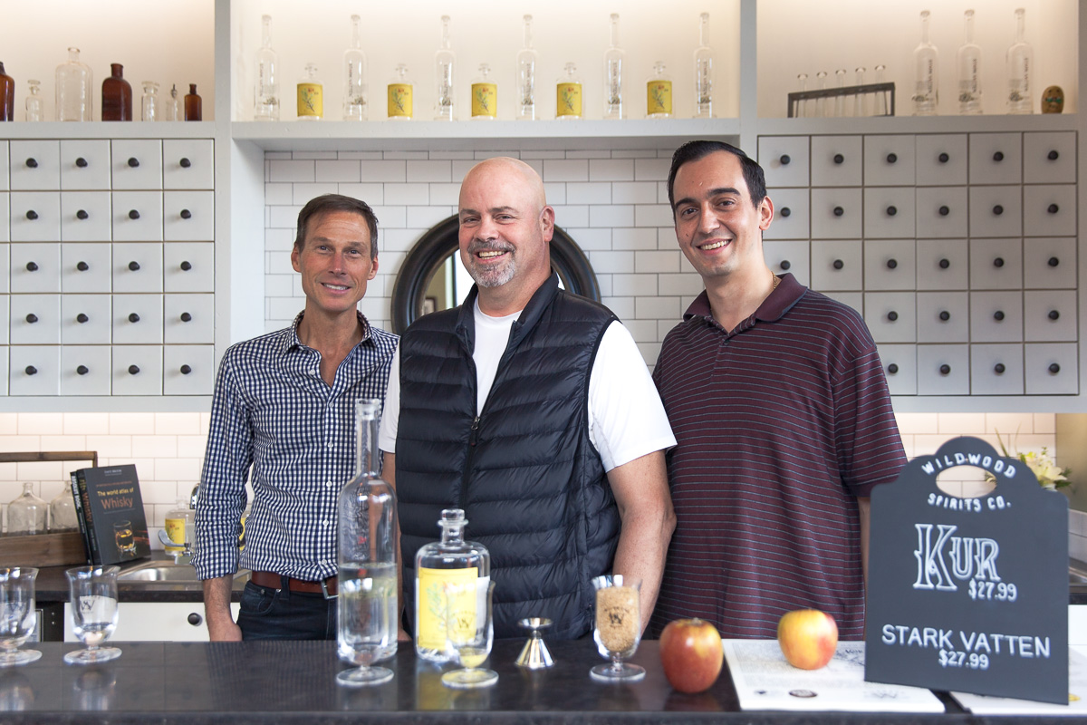 Chef John Howie, Head Distiller Erik Liedholm and Assistant Distiller and Tasting Room Manager Mike Taib (Image: Paola Thomas / Seattle Refined)