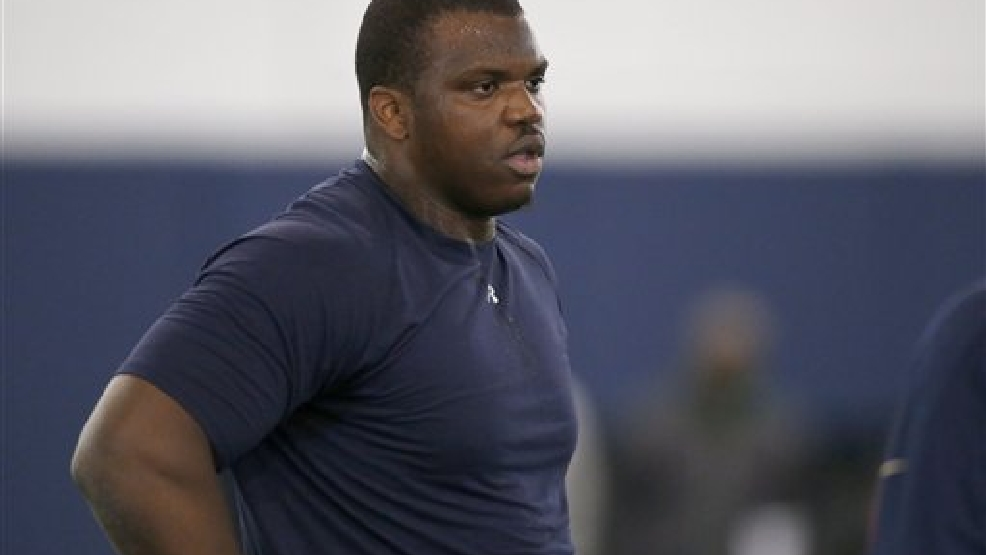 Greg Robinson at Auburn University's Pro Day Tuesday, March 4, 2014, in Auburn, Ala. (AP Photo/Hal Yeager)