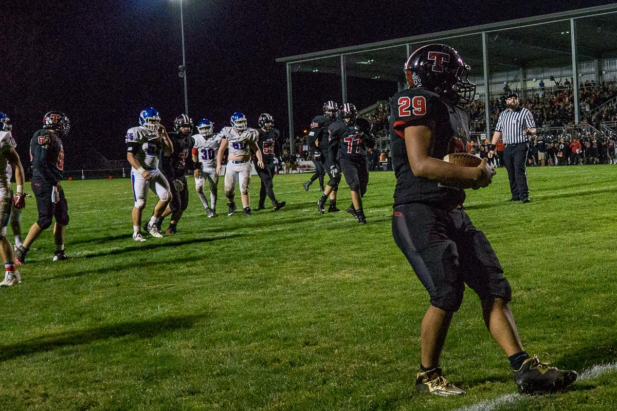 Thurston Colt Avery Jaramillo (#29) runs the ball into the end zone. The Churchill Lancers defeated the Thurston Colts 40 - 35 at Thurston High School on Friday, September 29.