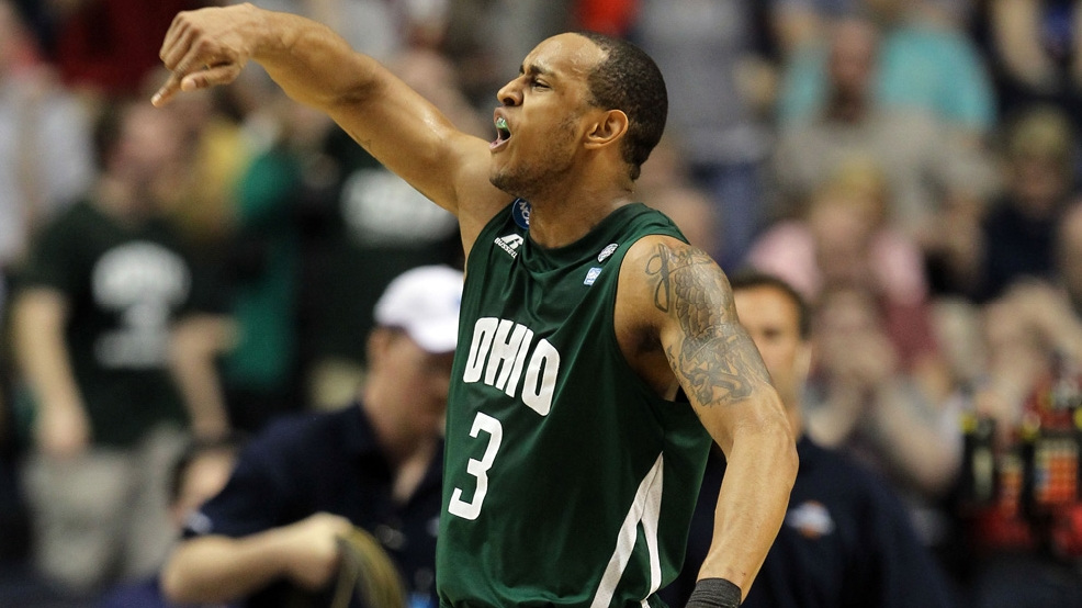 Walter Offutt celebrates Ohio's 65-60 victory against Michigan Wolverines during the second round of the NCAA men's basketball tournament on March 16, 2012 in Nashville, Tenn. (Photo by Jamie Squire/Getty Images)