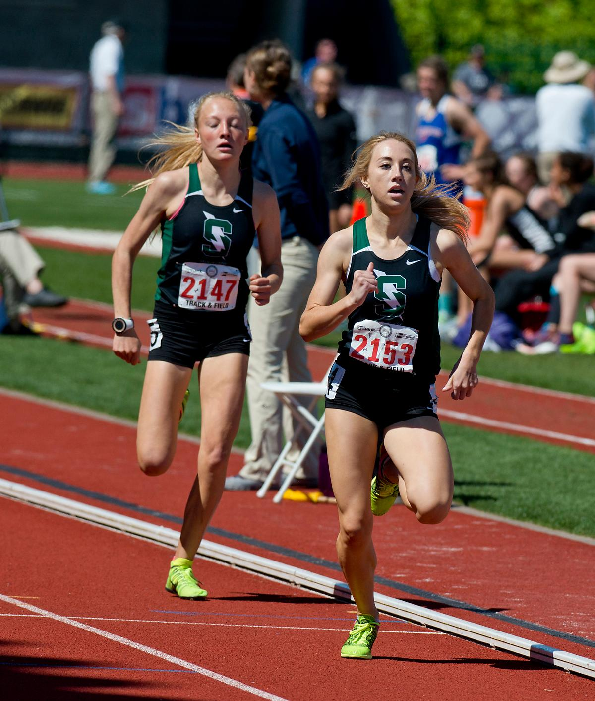 Emma Stevenson from Summit wins the 5A Girls 800 meter Run with a time of 2:17.75 at the OSAA Championship at Hayward Field on Saturday. Photo by Dan Morrison, Oregon News Lab
