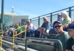 Packers fans sit in the stands at Ray Nitschke Field to take in the first public OTA of the year on Thursday, May 29, 2014.
