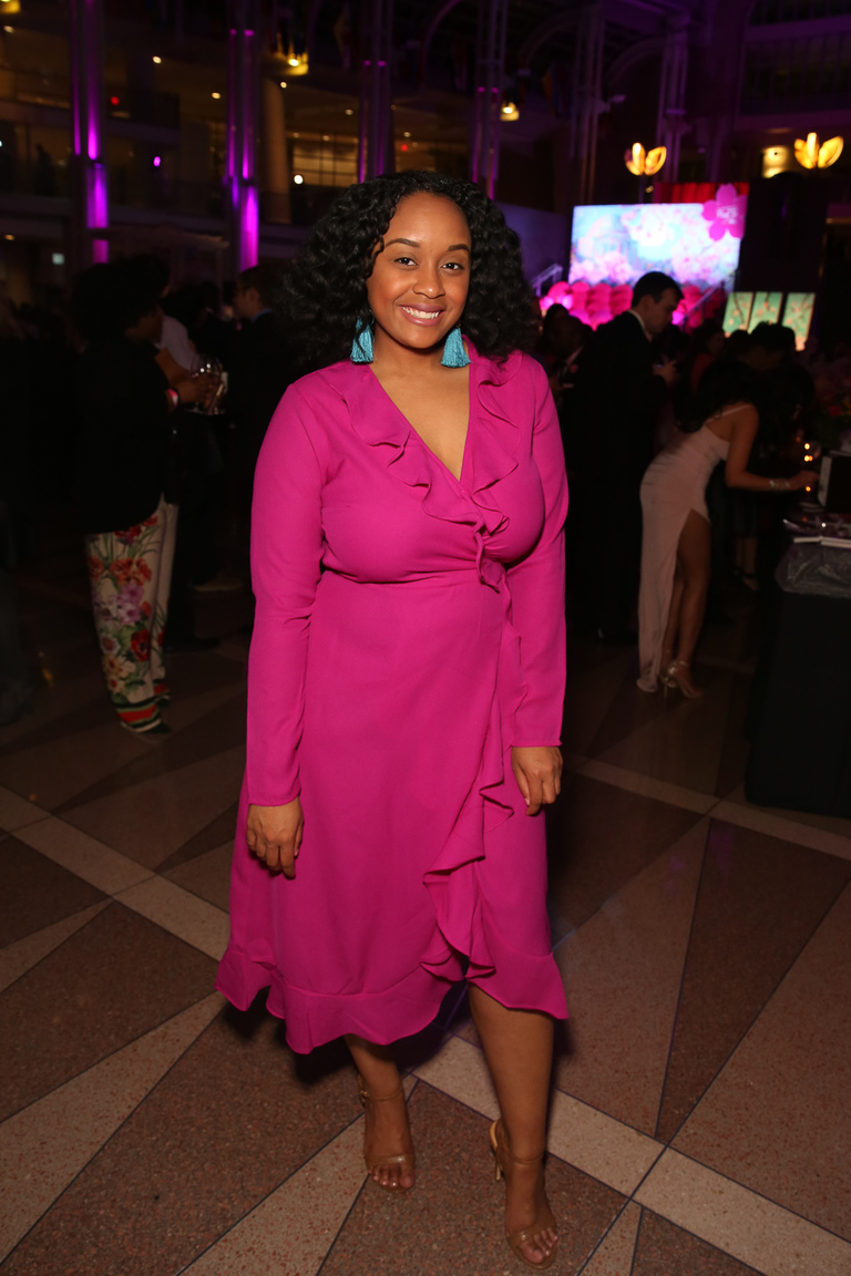 Britani Menina's earrings complement her pink frock so well.{ } (Amanda Andrade-Rhoades/DC Refined)
