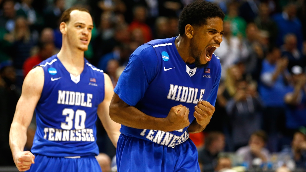 Reggie Upshaw after a dunk late in Middle Tennessee's 90-81 victory against Michigan State in the first round of the 2016 NCAA Men's Basketball Tournament on March 18 at Scottrade Center in St. Louis. (Photo by Jamie Squire/Getty Images)