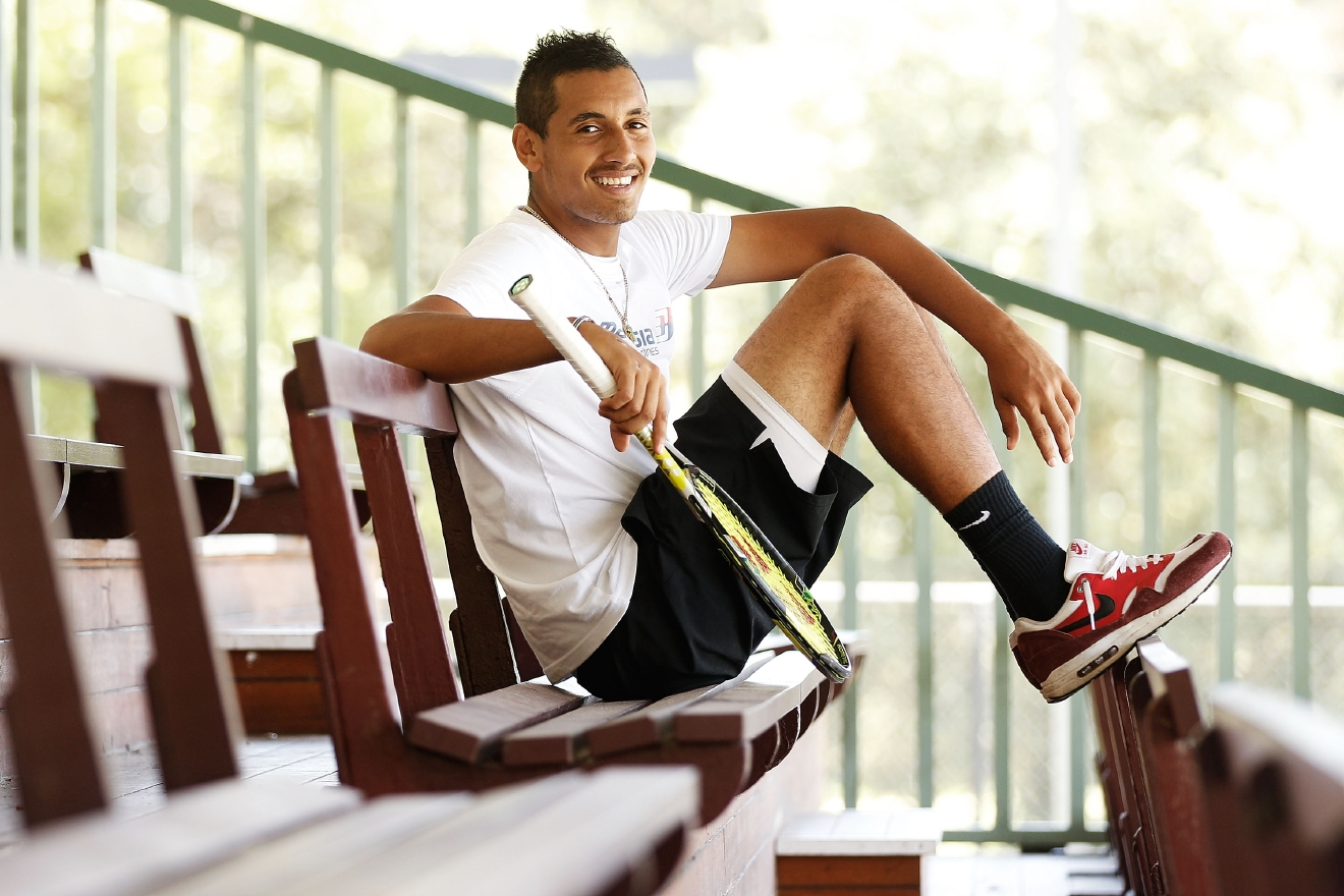 SYDNEY, AUSTRALIA - DECEMBER 22:  (EDITORS NOTE: Image has been desaturated) Nick Kyrgios poses during the announcement of the partnership between Malaysian Airlines and Australian tennis player Nick Kyrgios at Rushcutters Bay Tennis Club on December 22, 2014 in Sydney, Australia.  (Photo by Brendon Thorne/Getty Images)