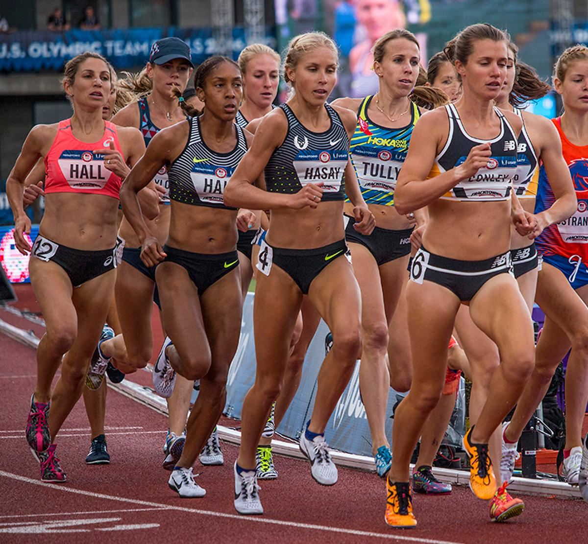 Runner�s compete during the women�s 5,000 meter finals. Day Ten of the U.S. Olympic Trials Track and Field concluded on Sunday at Hayward Field in Eugene, Ore. Competition lasted July 1 - July 10. Photo by Katie Pietzold