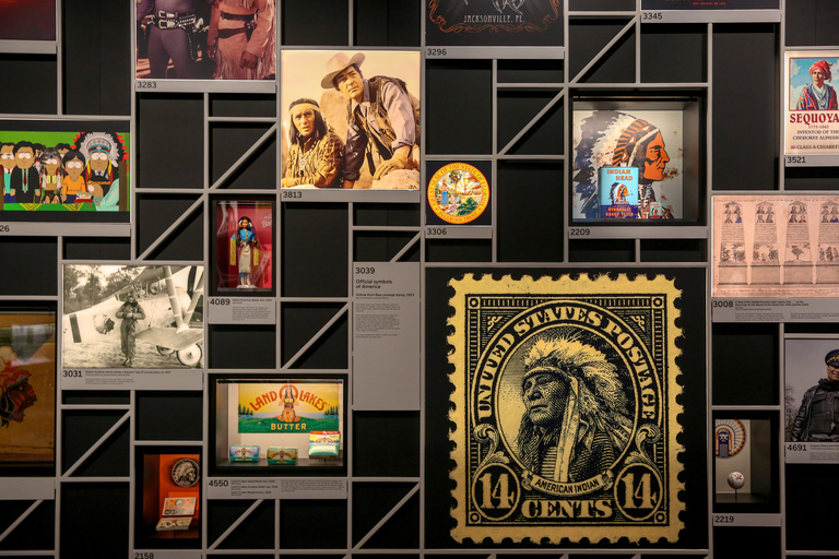 "Our culture is so saturated with images and symbols of Native Americans we rarely stop to consider whether the representation is good, bad, accurate or inaccurate. ""Americans"", the newest exhibition at the National Museum of the American Indian, aims to lift the veil over this representation by offering a close, multi-media examination of everything from sports logos to the cultural myth around Pocahontas. In addition to offering a nuanced view of representation of Native Americans in media, it also dispels some of the misinformation around historical turning points like the Indian Removal Act and the Battle of Little Bighorn. The exhibit, which opened January 18, will remain on display until 2022. (Amanda Andrade-Rhoades/DC Refined)"