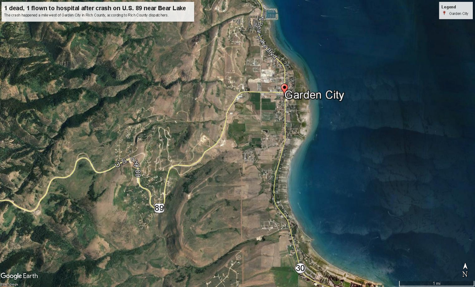 Dead  Flown To Hospital After Crash On US  Near Bear Lake - Us counties google earth