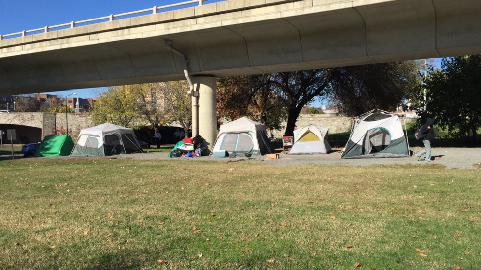 A group of homeless iniduals live together in tents near Rock Creek Parkway. (Photo ABC7) & 40 homeless people living by Rock Creek Parkway asked to clear ...