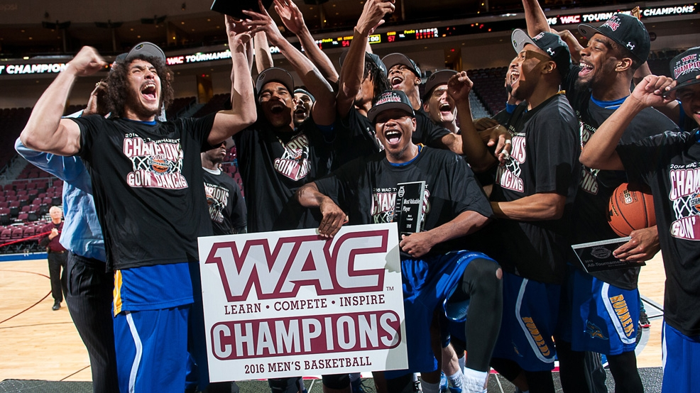 CSU Bakersfield celebrates its victory in the WAC Tournament Championship and first NCAA Tournament appearance. (Courtesy CSUB Athletics) Above: Video courtesy CSUB Athletics via YouTube