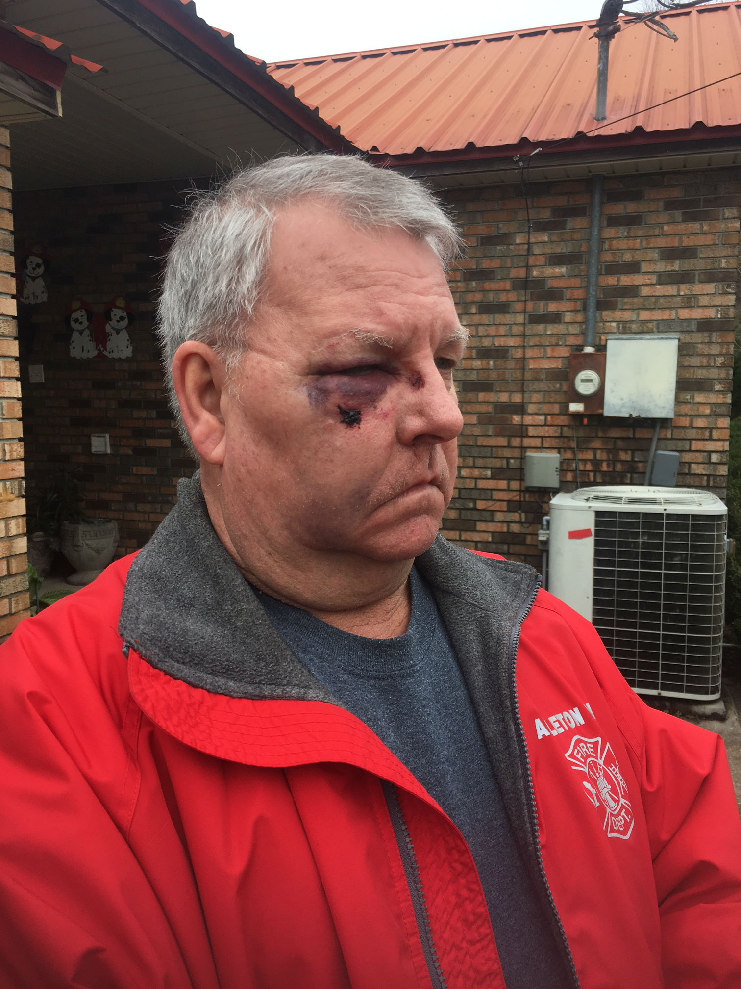 (Image: WPMI) Brewton man Christopher Wade Smith allegedly punches Fire Chief trying to rescue wife, strikes firefighter's vehicle