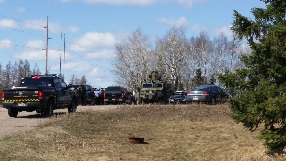 Law enforcement agencies at the staging area on U.S. 45 in Wittenberg, Tuesday, April 22, 2014. (WSAW)