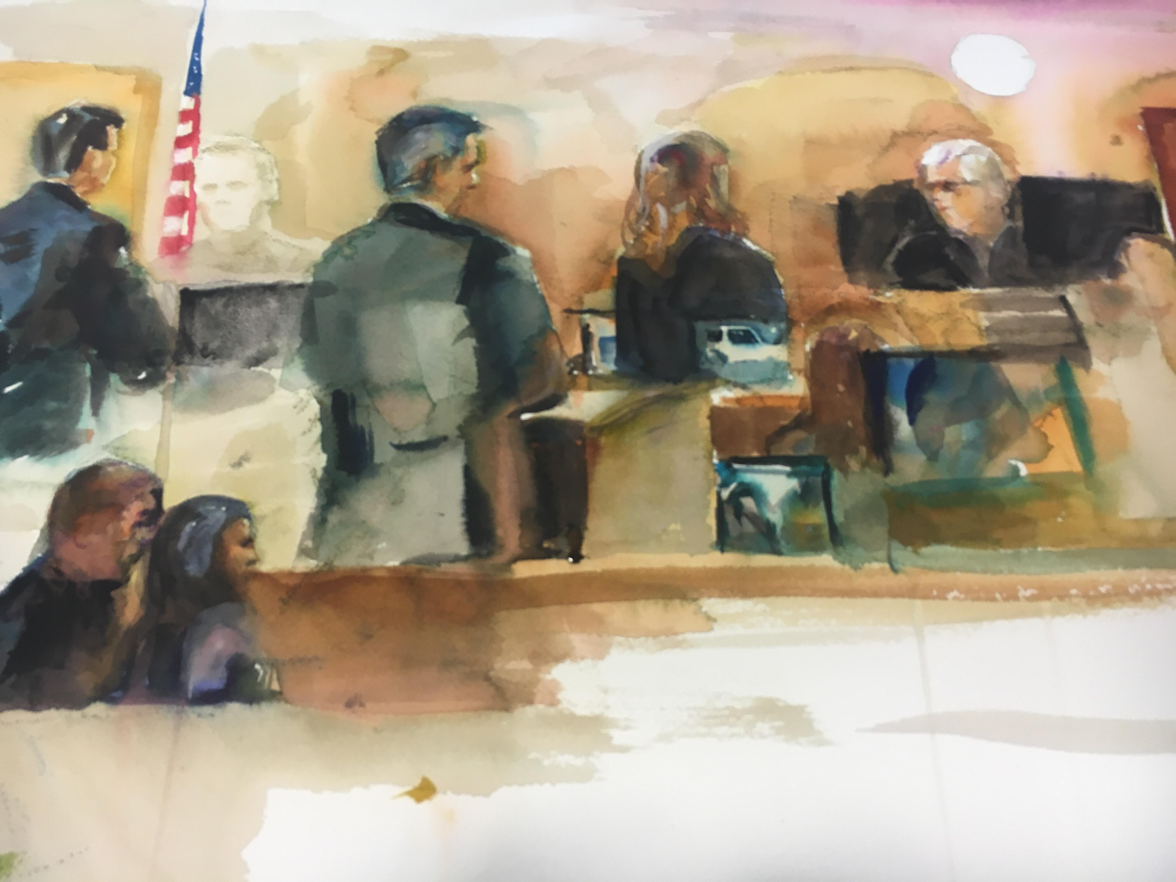 Sketch of the courtroom on day four of Betty Shelby's manslaughter trial. (Courtesy of Evelyn Petroski)