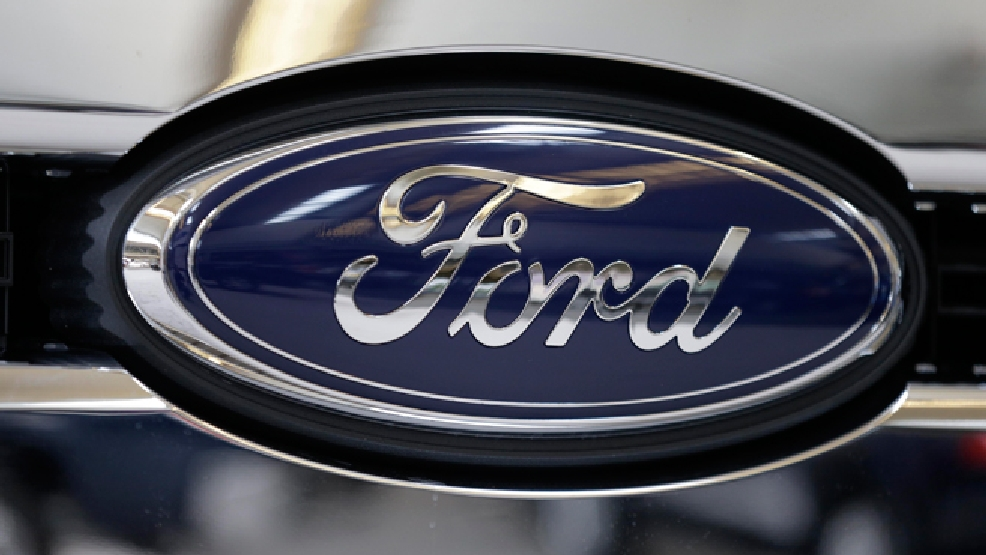 This photo taken on Feb. 14, 2013 shows the Ford logo at the 2013 Pittsburgh Auto Show in Pittsburgh. (AP Photo/Gene J. Puskar)