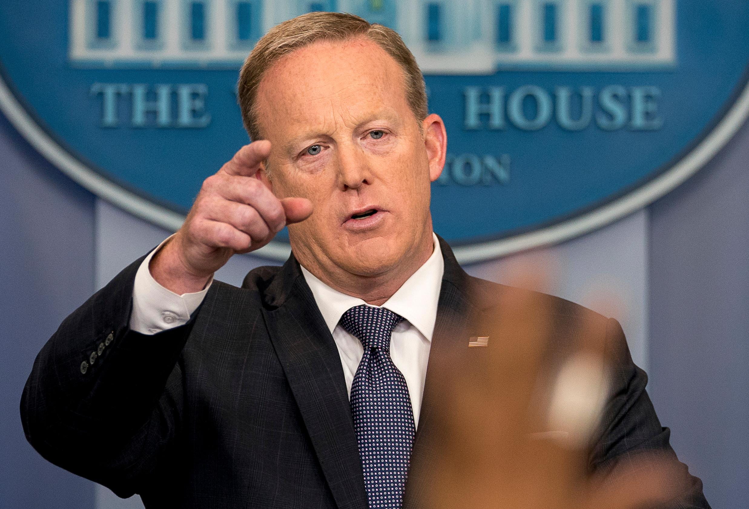 White House press secretary Sean Spicer calls on a member of the media during the daily press briefing at the White House in Washington, Tuesday, May 30, 2017. Spicer discussed ongoing possible connections to Jared Kushner and Russians as well as the president's international trip. (AP Photo/Andrew Harnik)