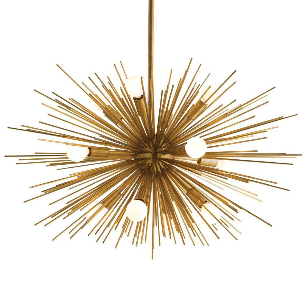 Arteriors Home 899 Zanadoo Large Chandelier ($3,120) Oil rubbed bronze discs create a cage for the 6 lights. The gold leaf interior finish provides the contrast which creates the drama. (Image: ATGStore.com)