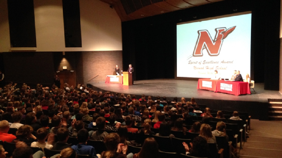 An all-school assembly at Neenah High School, Monday, Feb. 17, 2014. (WLUK/Chad Doran)