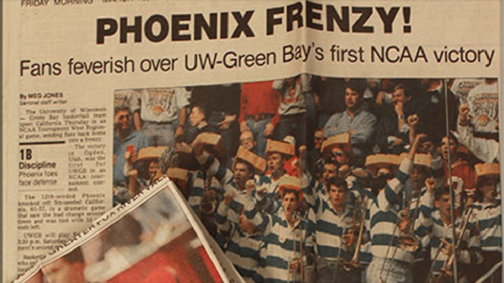 Green Bay's basketball team made headlines with an upset against Cal in the first round of the 1994 NCAA Tournament. (Courtesy UW Green Bay Archives)