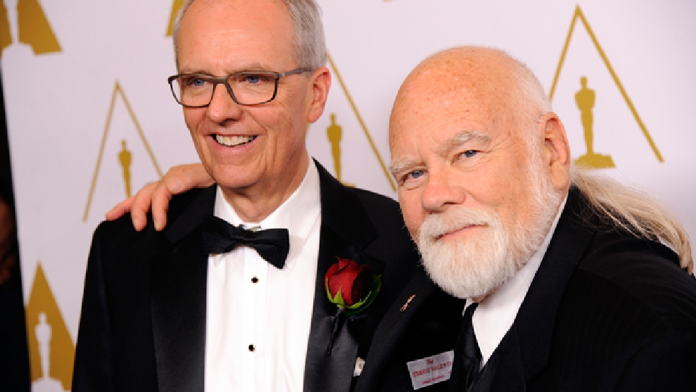 "Post-production and distribution executive Charles ""Tad"" Marburg, left, recipient of the John A. Bonner Medal of Commendation, and visual effects supervisor and director of photography Peter W. Anderson, recipient of the Gordon E. Sawyer Award, pose together before the Academy of Motion Picture Arts and Sciences' annual Scientific and Technical Awards on Saturday, Feb. 15, 2014, in Beverly Hills, Calif. (Photo by Chris Pizzello/Invision/AP)"